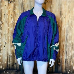 Nike Vintage Blue Green and White Windbreaker